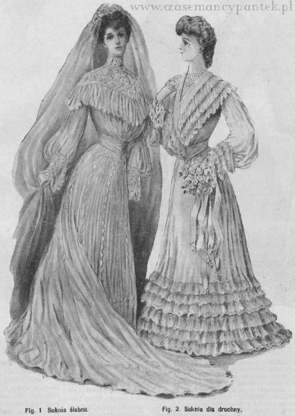 Suknia ślubna i suknia druhny, 1904   Wedding dress and bridesmaid's dress, 1904
