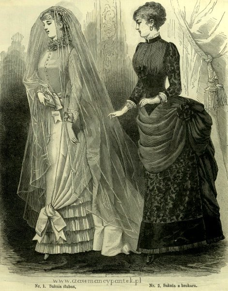 Suknia ślubna i brokatowa, 1883   Wedding and brocade dress, 1883