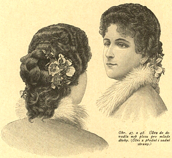 Fruzyra balowa, 1895   Ball hairstyle, 1895