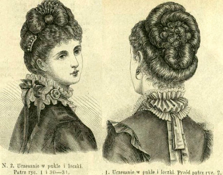 Uczesanie w pukle i loczki, 1874   Hairstyle with locks and curls, 1874