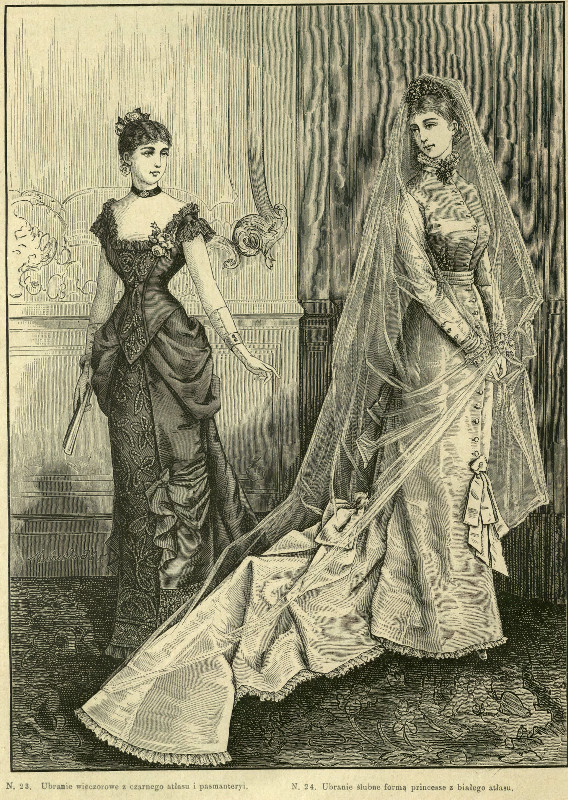 Suknia ślubna i suknia wieczorowa, 1879    Wedding dress and evening dress, 1879