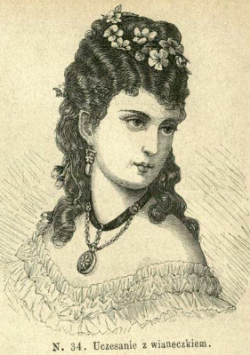 Uczesanie z wiankiem, 1874   Hairstyle with wreath, 1874