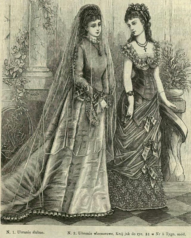 Suknia ślubna i wieczorowa, 1876   Wedding and evening dress, 1876