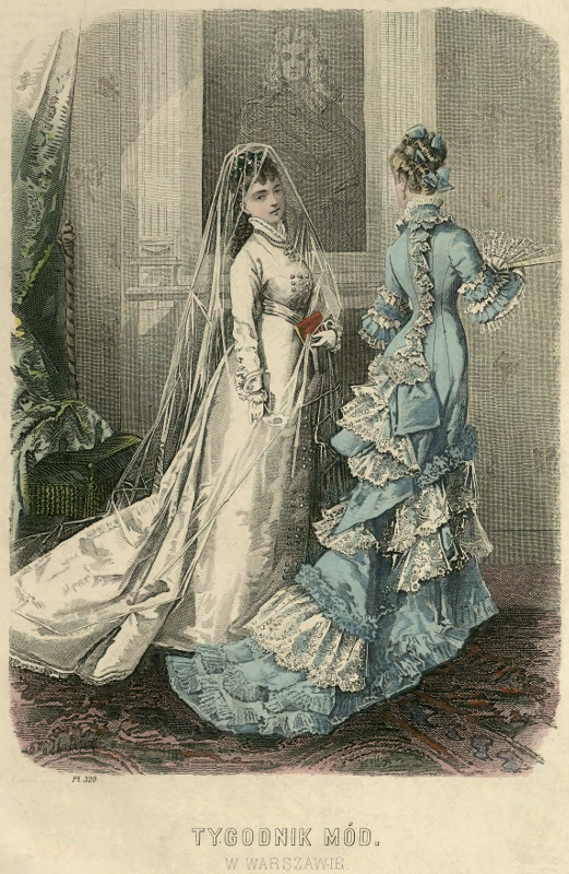 Suknia ślubna i wieczorowa, 1877   Wedding and evening dress, 1877
