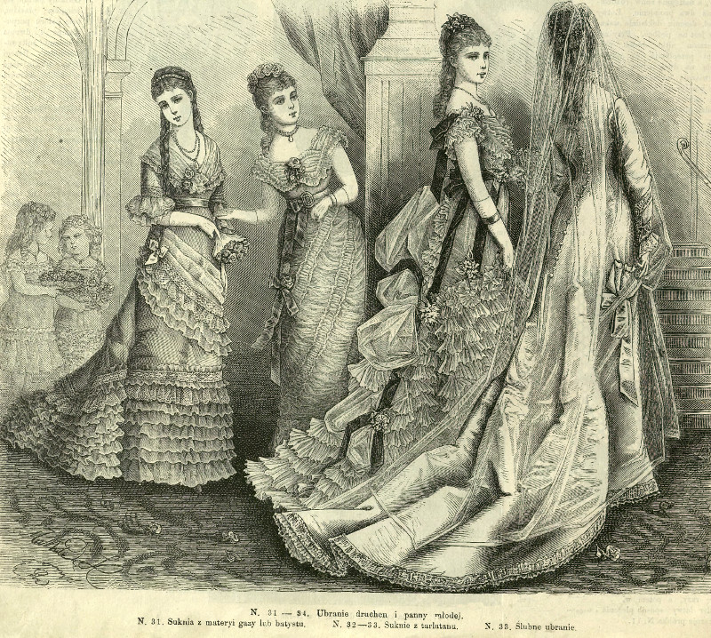 Suknia ślubna i suknie druhen, 1877   Wedding dress and bridesmaids' dresses, 1877